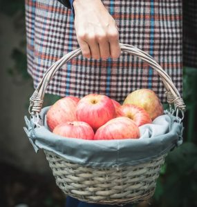 A person carrying a basket of apples